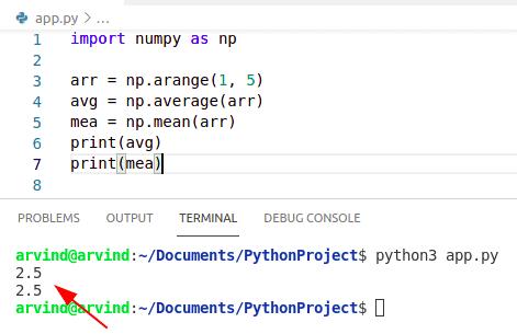 Python numpy average vs mean