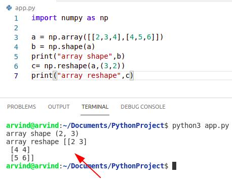 Python numpy change array shape