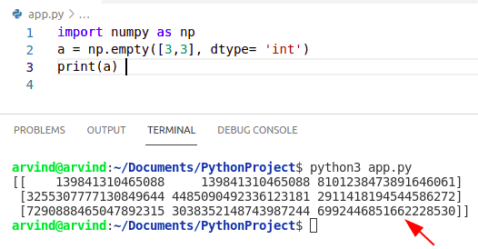 Python numpy declare empty array integer method