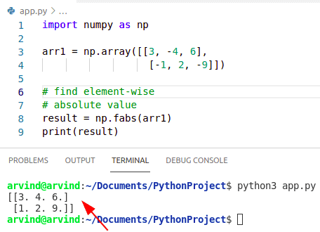 Python numpy element wise absolute value fabs method