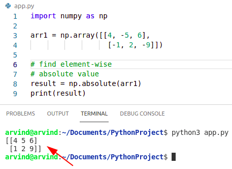 Python numpy element wise absolute value