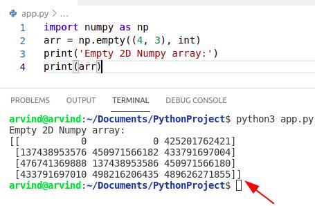 Python numpy empty 2d array method