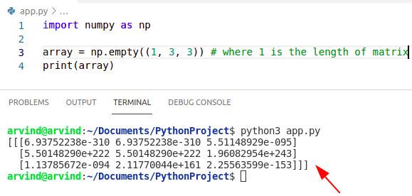 Python numpy empty 3d array