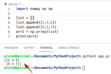 Python numpy empty array append list method