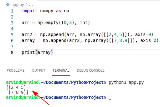 Python numpy empty array append