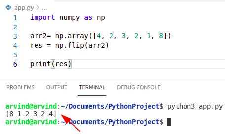 Python numpy flip array