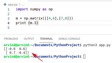 Python numpy inverse array matrix method