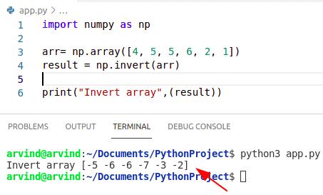 Python numpy invert array