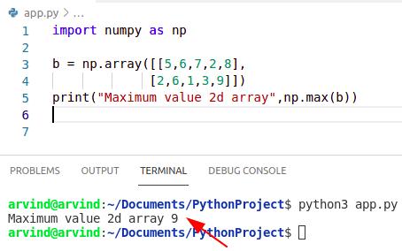 Python numpy max 2d array
