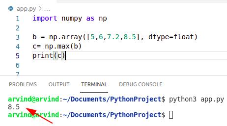 Python numpy max float