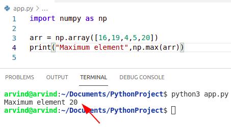 Python numpy max function