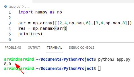 Python numpy max ignore nan