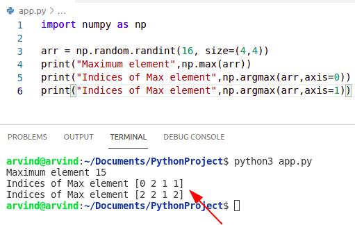Python numpy max index