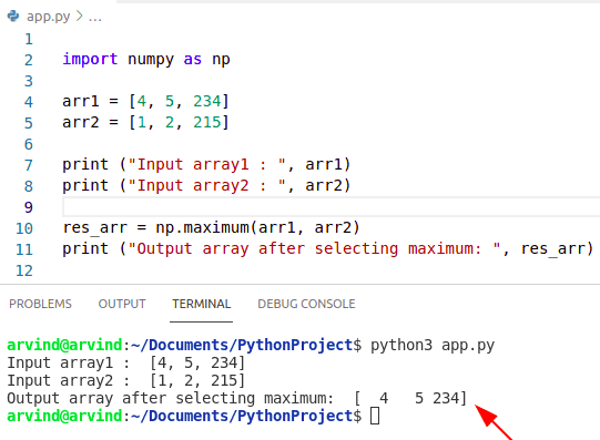 Python numpy max of two arrays