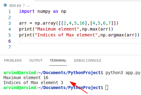 Python numpy max value and index