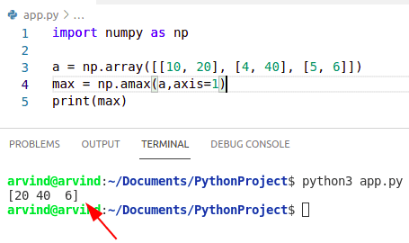 Python numpy max value in column
