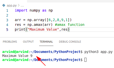 Python numpy max value