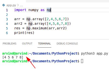 Python numpy max