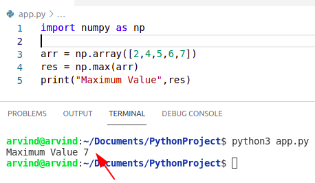 Python numpy maximum