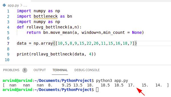 Python numpy moving average bottleneck