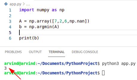 Python numpy nan index