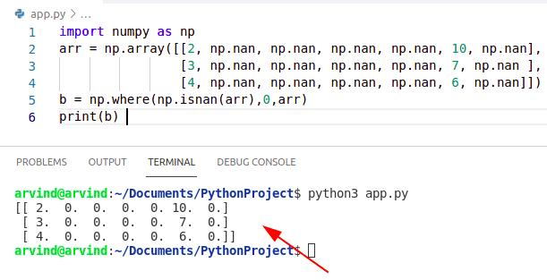 Python numpy nan to zero np.where method