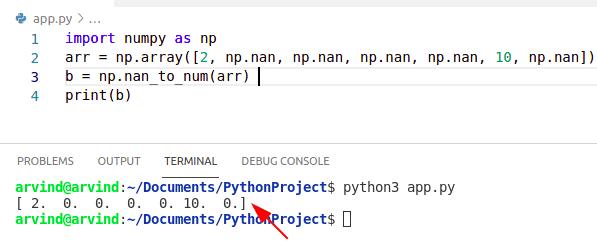 Python numpy nan to zero