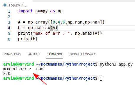 Python numpy nanmax