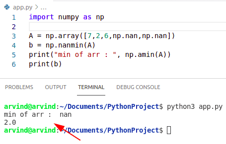 Python numpy nanmin