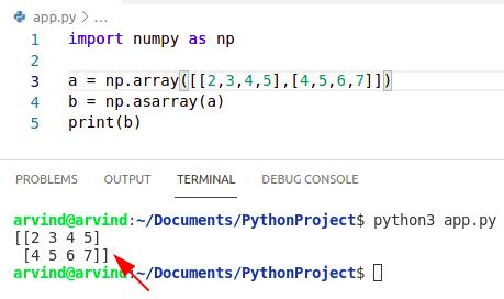 Python numpy np.asarray shape