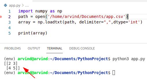 Python numpy read csv into 2d numpy array