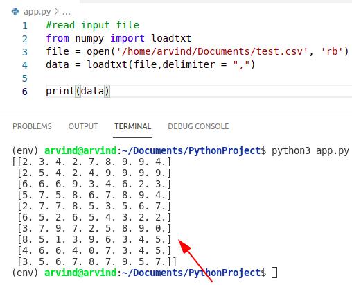 Python numpy read csv