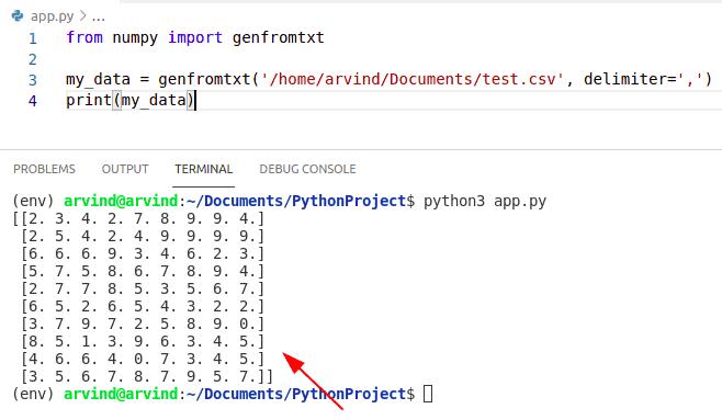 Python numpy read csv file
