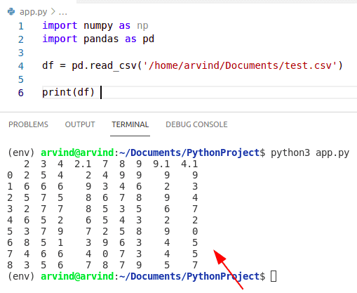 Python numpy read csv pandas