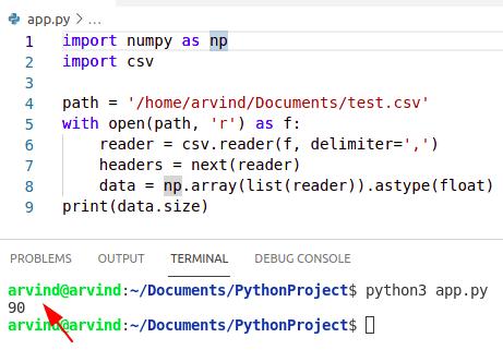 Python numpy read csv size