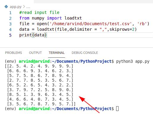 Python numpy read csv skip_rows
