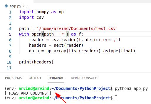 Python numpy read csv with header