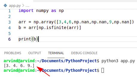 Python numpy remove nan from array isfinite method