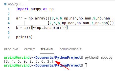 Python numpy remove nan from array operator method