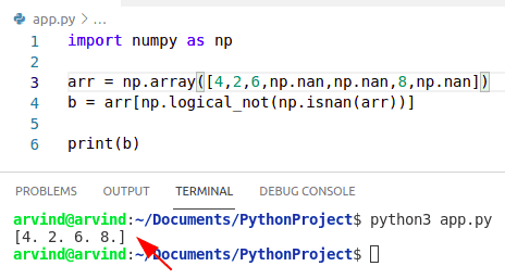 Python numpy remove nan from array