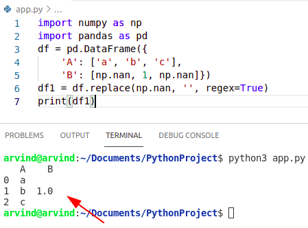 Python numpy replace nan with empty string