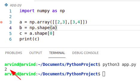 Python numpy shape 0