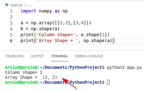 Python numpy shape 1