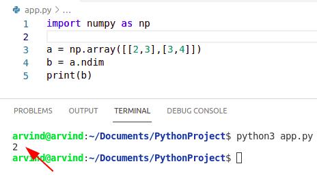 Python numpy shape dimensions