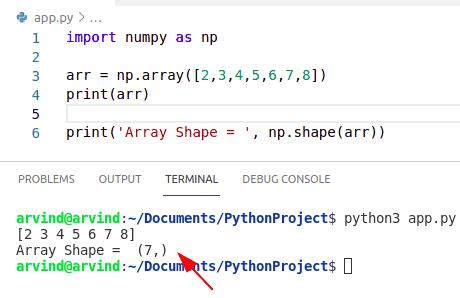 Python numpy shape function