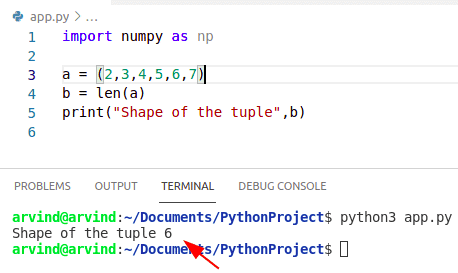 Python numpy shape tuple