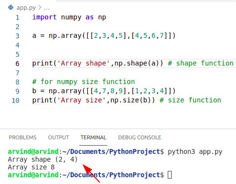 Python numpy shape vs size