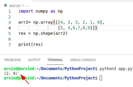 Python numpy shape