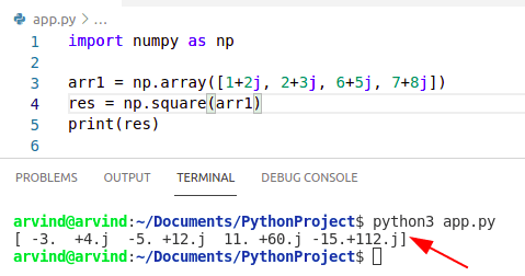 Python numpy square complex no