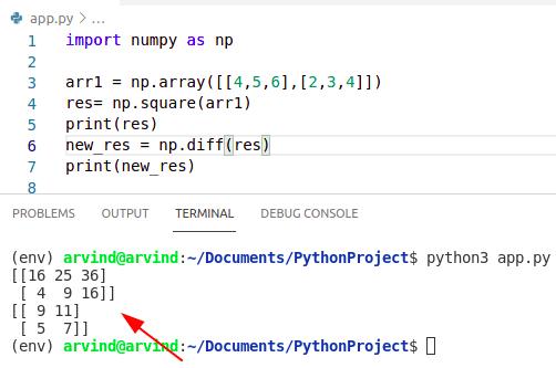 Python numpy square diff